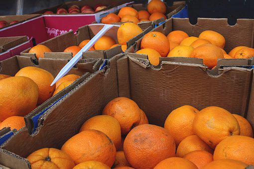 Fruit, Fruit Stand, Boxes, Oranges, Healthy, Stand