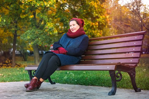 Autumn, Girl, Stand By, Bench, Park, Leaves, Portrait