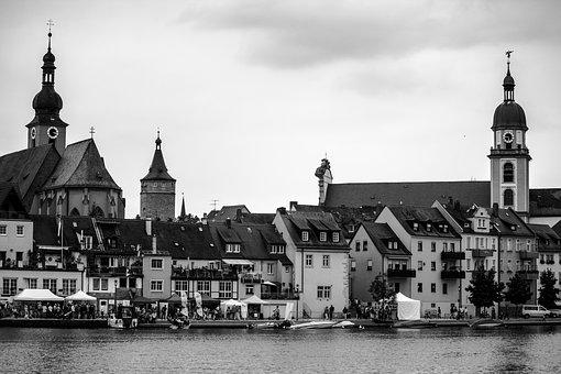 Kitzingen, Main, River, Water, Bank, Urban Landscape