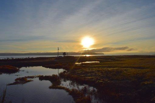 Sunrise, Shore, Water, Coast, Sky, Landscape, Scenic