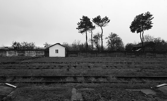 Abandoned Train Station, Black And White, Railroad