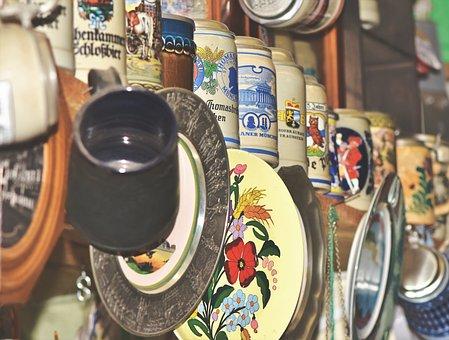 Flea Market, Junk, Beer Mugs, Plate, Jugs, Antique