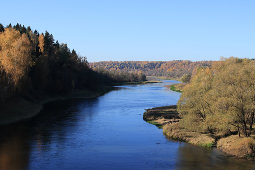 Autumn, River, Forest, Sky, Shadow, Blue, Moscow Region