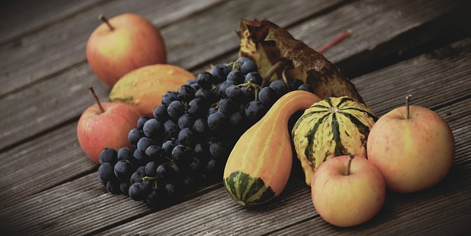 Fruit, Grapes, Apple, Pumpkins, Autumn, Harvest
