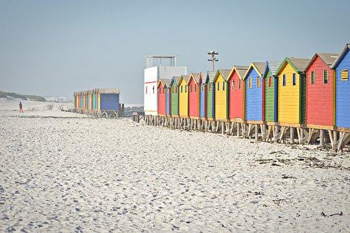 Cape Town, Beach, Sand, House, Colours, Summer