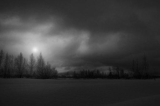 Winter, Evening, Sunset, Snow, Black And White