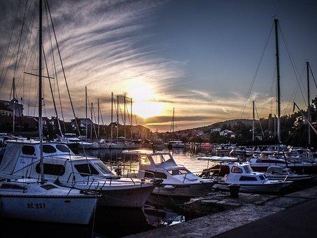 Port, Sky, Evening, Sea, Clouds, Coast, Pier, Bay