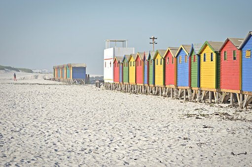 Cape Town, Beach, Sand, House, Colours, Summer
