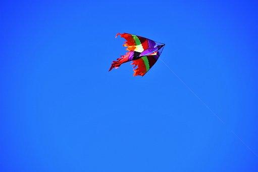Dragon, Flying, Kite, Autumn, Windy, Children's, Toy