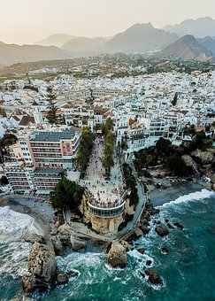 Nerja, Balcón De Europa, Sunset, Dusk, Mountains, Sea