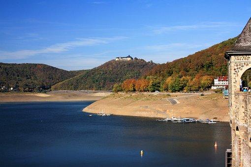 Edersee, Castle Waldeck, Castle, Water, Landscape, Sky
