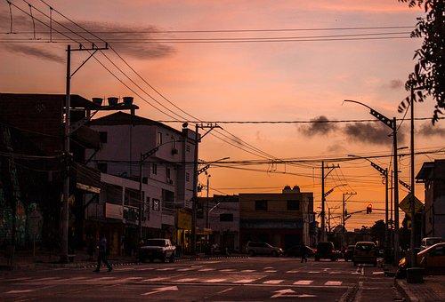 Street, Barranquilla, Art, Fall Of The Sun, Sunset