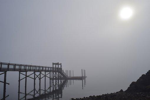 Fog, Morning, Bridge, Water, Reflection, Shore, Dock