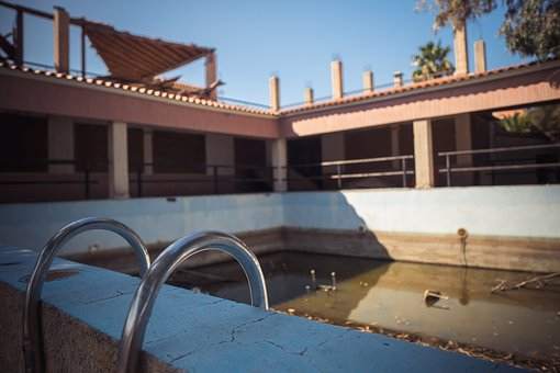Pool, Building, Empty, Architecture, Forget, Ruin