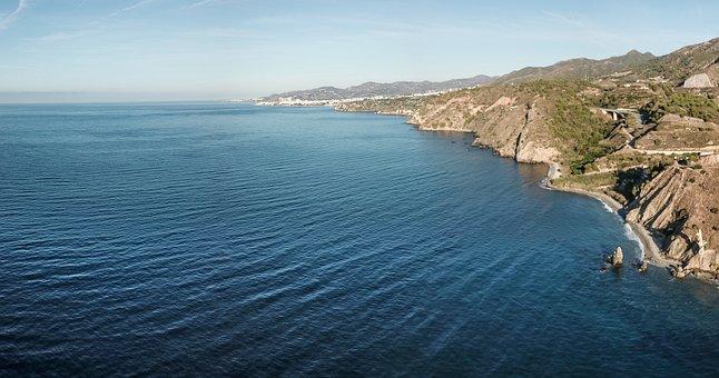 Nerja, Cliffs, Maro, Beach, Sea, Blue, Horizon