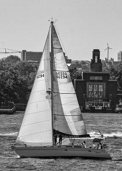 Sailboat, Boat, Ship, Hudson, River, New York, Sail