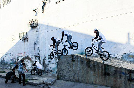 Bicycle, Jumps, Jump, Motorcycle, Person, Action