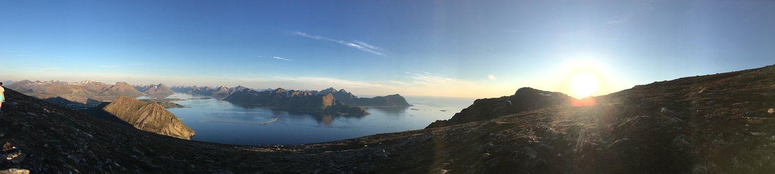 Mountain, Peak, Snow, Sea, Sunset, Landscape