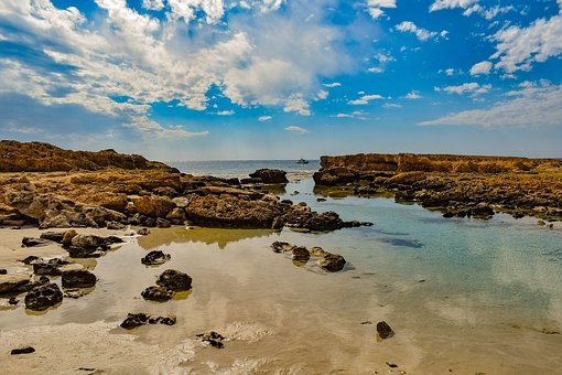 Rocky Coast, Mirroring, Landscape, Beach, Sky, Clouds