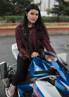 Motorcycle, Girl, Brunette, Beautiful