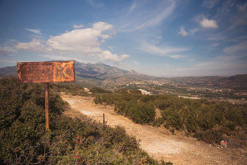 Sign, Rust, Mountain, Landscape, Stained, Vintage, Old