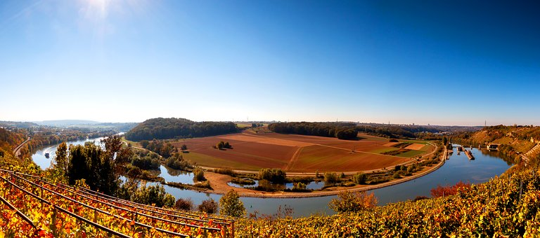 Neckar, Poppenweiler, River, Germany, Waters, Nature