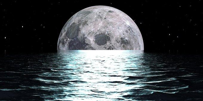 Moon, Reflection, Ocean, Water, Night, Landscape