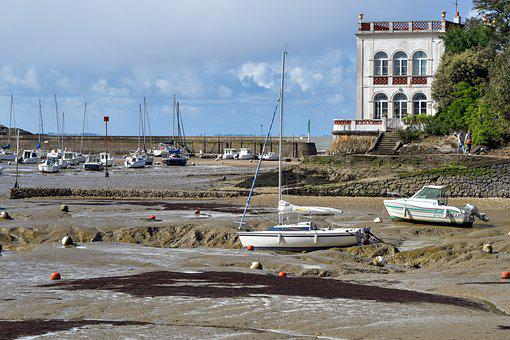 Port, Marina, House, Low Tide, Boat, Sand, Pornic