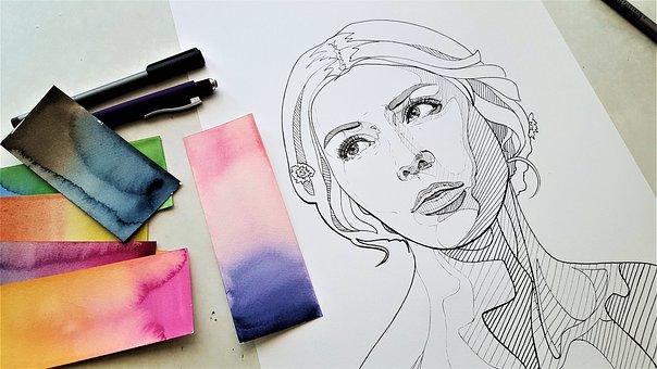 Drawing, Paper, Art, Pen, Woman, Portrait, Face