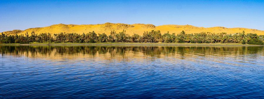 Desert, River, Morgenstimmung, Panorama, Palm Trees