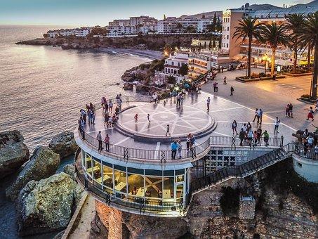 Sunset, Nerja, Balcón De Europa, Lights, Sea, Beach