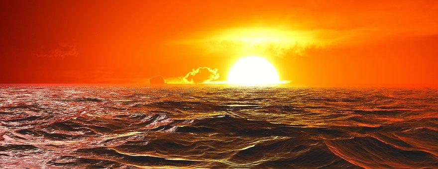 Sunset, Ocean, Sea, Sky, Water, Evening, Mood