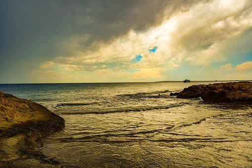 Rocky Coast, Sea, Sky, Clouds, Nature, Seascape