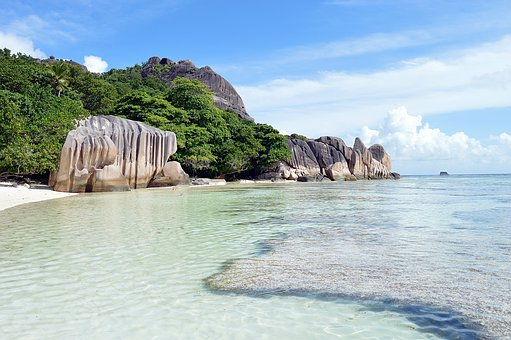 Seychelles, Sea, Beach, Water, Stones, Caribbean