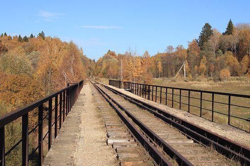 Autumn, Rails, Forest, Sky, Shadow, Blue, Moscow Region