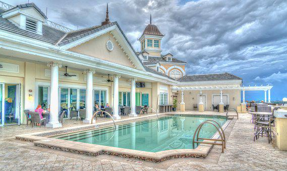 Resort, Pool, Sky, Clouds, Vacation, Travel, Recreation