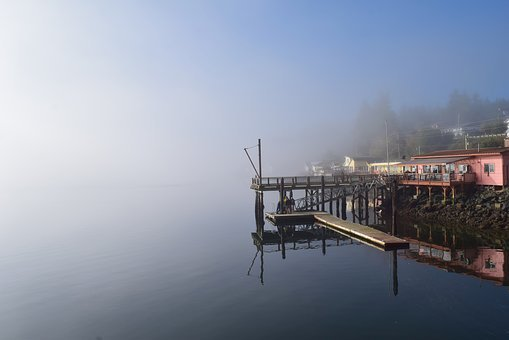 Fog, Morning, Sunlight, Water, Reflection, Shore, Dock