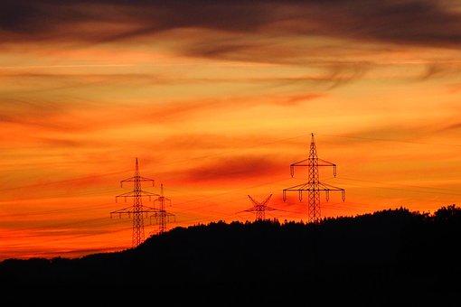 Sky, Strommast, Sunset, Nature, Technology