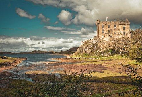 Castle, Water, Scotland, Fortress, Architecture, Nature
