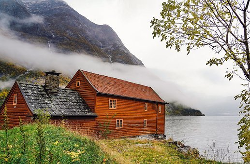 Norway, Fjord, Boat House, Water, Clouds, Mountain
