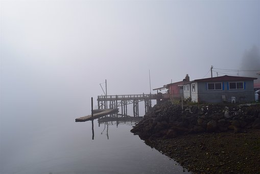 Fog, Morning, Water, Reflection, House, Shore, Dock