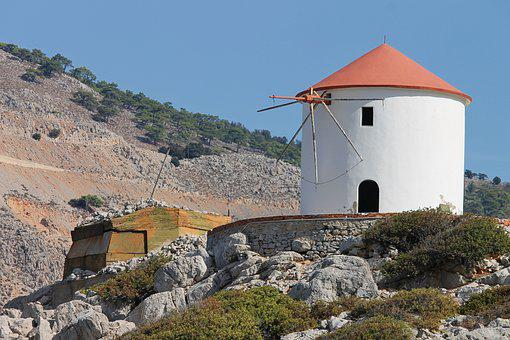 Windmill, Greece, Symi, Greek, Architecture, Island