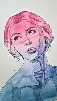 Painting, Woman, Portrait, Art, Drawing, Watercolor