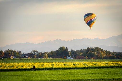 Field, Balloon, Mountains, Alpine, Hot Air Balloon Ride