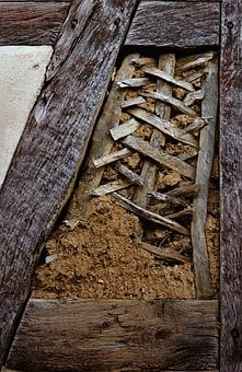 Truss, Compartments, Wicker, Clay, Dilapidated