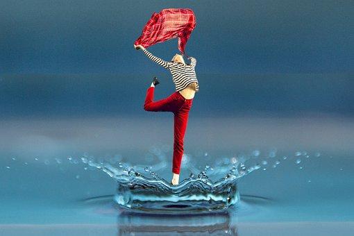 Woman, Dance, Raindrop, Photomontage, Composing, Female