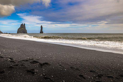 Iceland, Beach, Landscape, Water, Figure, The Coast