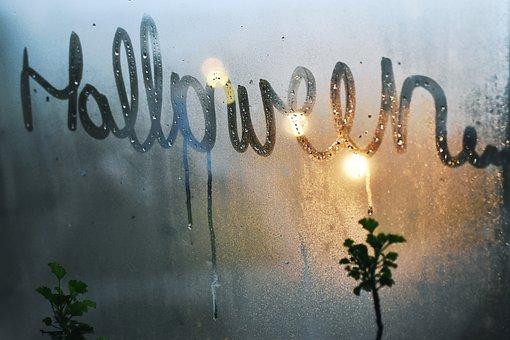 Halloween, Word, Text, Window, Mist, Fog, Colors, Blue