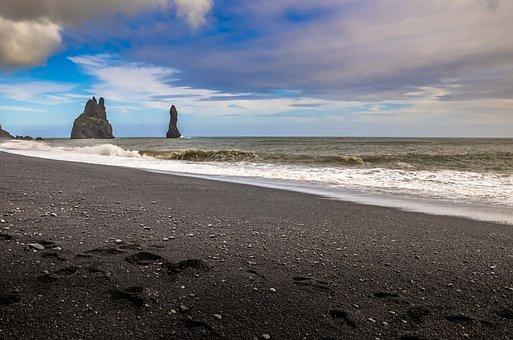 Iceland, Beach, Landscape, Water, Figure, The Coast
