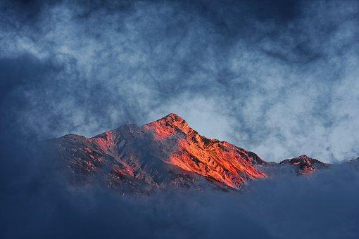Landscape, Nature, Sunrise, Sky, Mountains, Peaceful